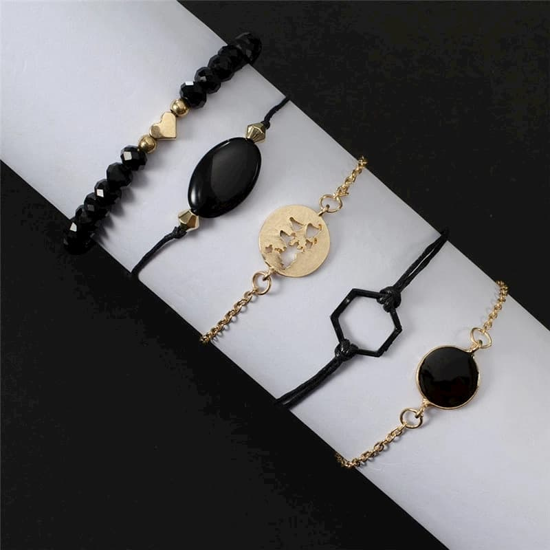 5 bracelets Monde Doré